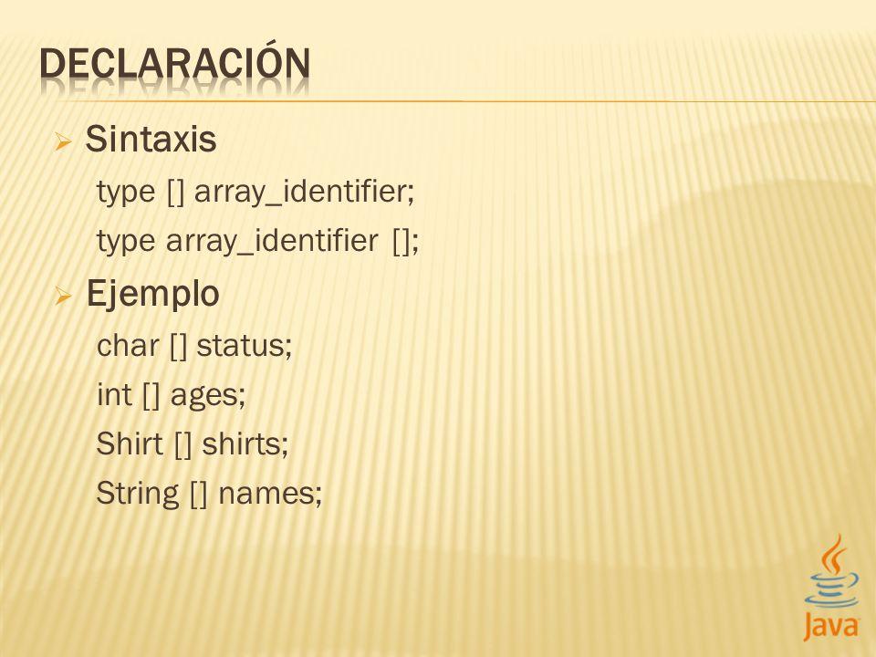DECLARACIÓN Sintaxis Ejemplo type [] array_identifier;
